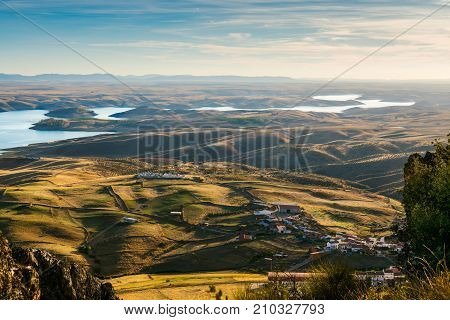 View from Castle of Puebla de Alcocer. Badaoz Extremadura. reservoir of serena lakes