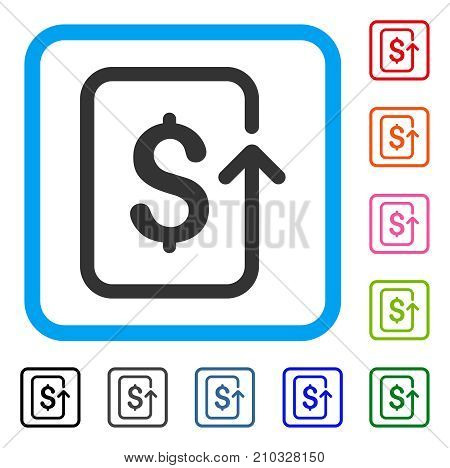 Reverse Transaction icon. Flat gray pictogram symbol inside a light blue rounded rectangular frame. Black, gray, green, blue, red, orange color versions of Reverse Transaction vector.