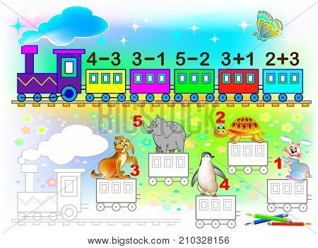 Mathematical worksheet for young children on addition and subtraction. Need to solve examples and paint the train wagons in relevant colors. Developing skills for counting. Vector image.