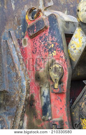 picture of a detail of a rundown construction machine