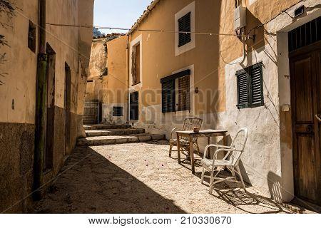 Street in the town of Banyalbufar, Majorca (Balearic Islands, Spain)