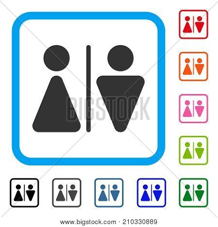 WC Persons icon. Flat grey iconic symbol inside a light blue rounded rectangle. Black, gray, green, blue, red, orange color additional versions of WC Persons vector.