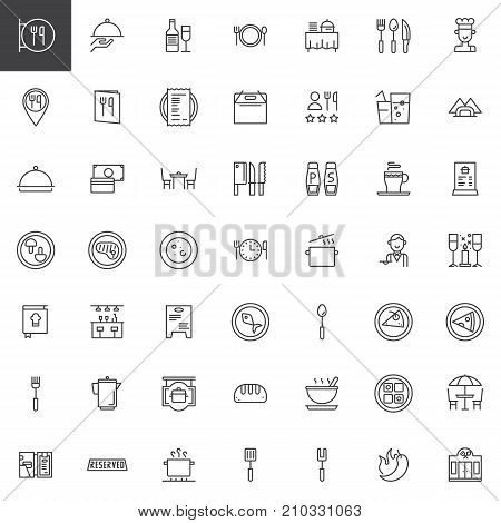 Restaurant cafe line icons set, outline vector symbol collection, linear style pictogram pack. Signs, logo illustration. Set includes icons as restaurant sign, restaurant location, dishes and food