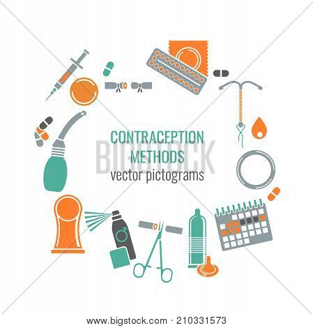Contraception methods image. Female and male contraceptive icons. Beautiful vector illustration in medical colours isolated on white background.