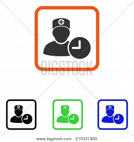 Doctor Schedule Clock icon. Flat gray pictogram symbol inside an orange rounded rectangle. Black, green, blue color additional versions of Doctor Schedule Clock vector.