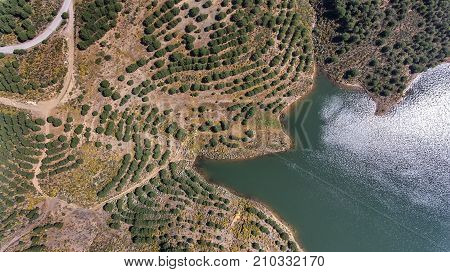 Aerial. Videography of the drone, reservoir dam Odeleite. Portugal