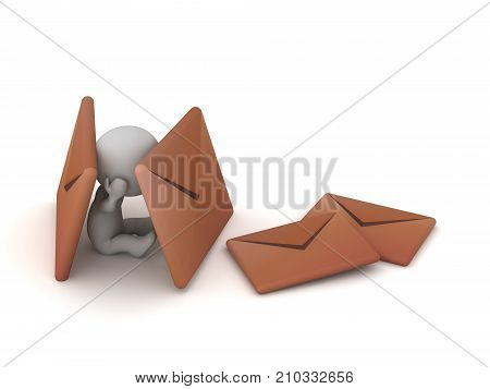 3D charcter sitting down surrounded by large brown mail envelopes. Isolated on white background.