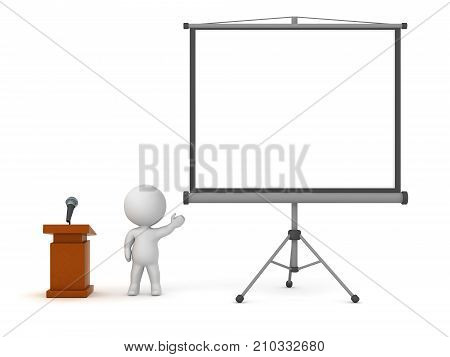 3D character next to a lectern with microphone showing a large projector screen. Isolated on white background.