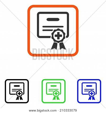 Medical Certificate icon. Flat grey iconic symbol in an orange rounded rectangular frame. Black, green, blue color additional versions of Medical Certificate vector.