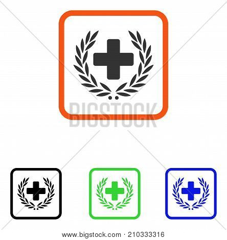 Medical Glory icon. Flat grey iconic symbol in an orange rounded rectangle. Black, green, blue color additional versions of Medical Glory vector. Designed for web and application user interface.