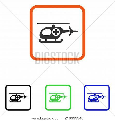 Medical Helicopter icon. Flat gray iconic symbol in an orange rounded rectangle. Black, green, blue color variants of Medical Helicopter vector. Designed for web and application user interface.