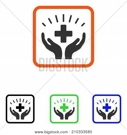 Medical Prosperity icon. Flat gray iconic symbol inside an orange rounded square. Black, green, blue color versions of Medical Prosperity vector. Designed for web and software user interface.