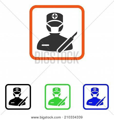 Surgeon icon. Flat grey iconic symbol inside an orange rounded square. Black, green, blue color additional versions of Surgeon vector. Designed for web and software UI.