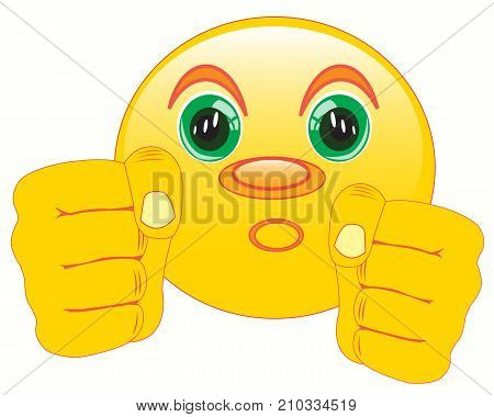 Smiley with fist on white background is insulated
