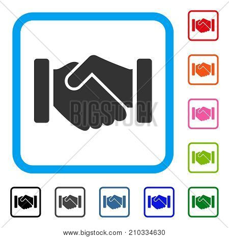 Agreement Handshake icon. Flat gray pictogram symbol inside a light blue rounded frame. Black, gray, green, blue, red, orange color additional versions of Agreement Handshake vector.