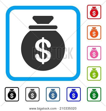 Cash Harvest Sack icon. Flat grey iconic symbol in a light blue rounded square. Black, gray, green, blue, red, orange color versions of Cash Harvest Sack vector. Designed for web and app UI.