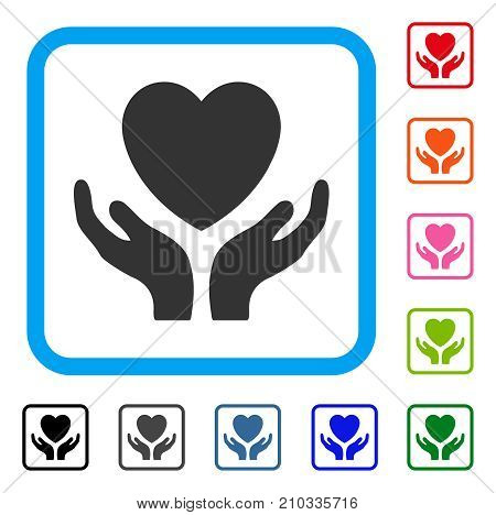 Love Heart Care Hands icon. Flat gray iconic symbol inside a light blue rounded squared frame. Black, gray, green, blue, red, orange color additional versions of Love Heart Care Hands vector.