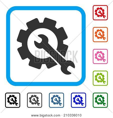 Repair icon. Flat grey iconic symbol in a light blue rounded rectangle. Black, gray, green, blue, red, orange color additional versions of Repair vector. Designed for web and software UI.