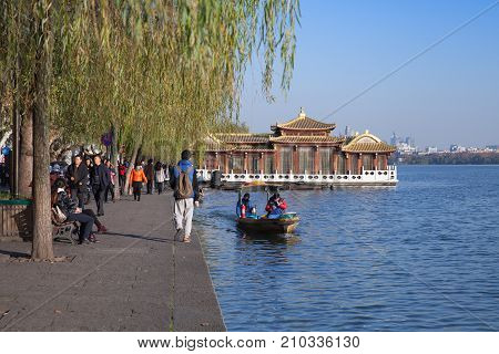Floating Wooden Chinese Gazebo. West Lake