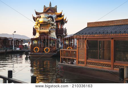 Chinese Wooden Boats And Dragon Ship