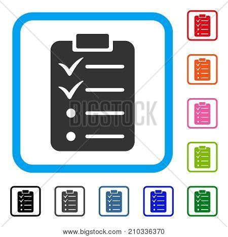 Todo List icon. Flat grey pictogram symbol inside a light blue rounded square. Black, gray, green, blue, red, orange color variants of Todo List vector. Designed for web and software user interface.