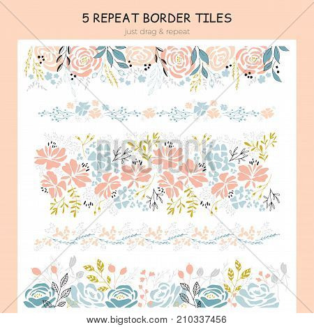 Vector set of hand drawn repeat borders. Flowers, leaves and berries in arrangements. For greetings, weddings, stationery, surface design, scrapbooking. Hand drawn style. Part of a big collection.