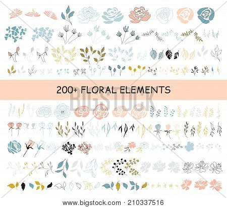 Big vector set of floral elements. Flowers, leaves and berries. For greeting cards, weddings, stationery, surface design, scrapbooking. Cute doodle hand drawn style. Part of a large floral collection.