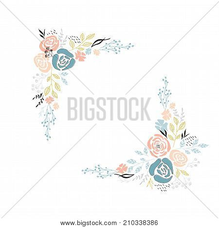 Vector floral hand drawn frame. Flowers and leaves in an angular arrangement. For greeting cards, weddings, stationery, invitations, scrapbooking. Part of a large floral collection.