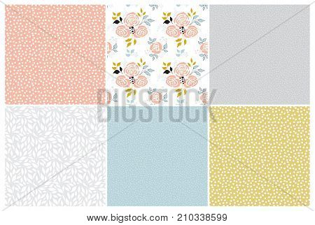 Vector set of floral seamless patterns. Part of big flower collection of illustrations. Can be used for wallpaper, packaging and stationery, surface textures, scrapbooking, fabric prints.