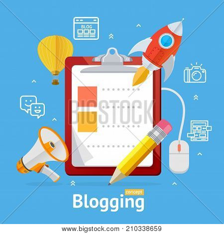 Blogging Concept with Checklist Dashboards Survey Internet Social Media Communication Technology Elements Design. Vector illustration of Blog Signs