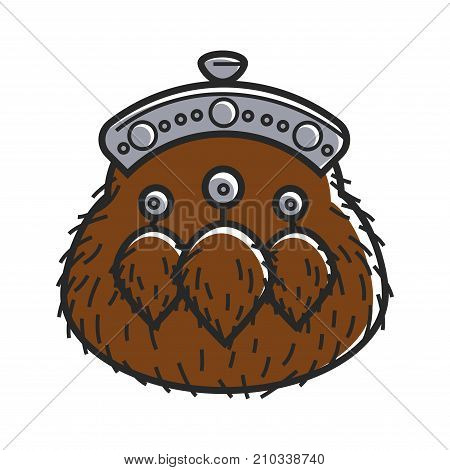 Ancient furry purse with small tassels and metal lock isolated cartoon vector illustration on white background. Old accessory to keep money inside made of soft natural material as historical relic.