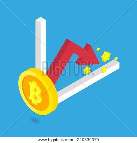 Bitcoin golden crop with red arrow and chart isometric vector