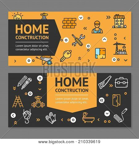 Home Repair Flyer Banner Posters Card Horizontal Set Line Icons Building Construction Elements for Web Design Renovation Project. Vector illustration of Banners