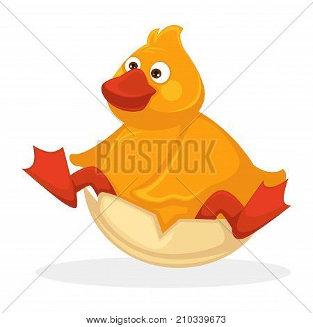 Funny plump baby duck with red beak and legs that sits inside cracked egg shell isolated cartoon flat vector illustration on white background. Fluffy adorable ridiculous bird that just hatched.