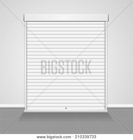 Realistic Detailed 3d Template Blank White Warehouse Shutter Metallic Door. Vector illustration of Empty Mock Up Closed Gate