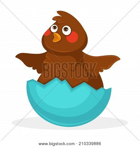 Cute plump baby bird with brown plumage, funny forelock, red cheeks, small beak and spreaded short wings inside blue half of egg shell isolated cartoon flat vector illustration on white background.