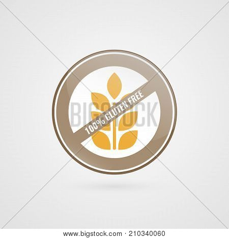 Gluten free label. Food logo icon. Vector yellow brown white sticker sign isolated. Illustration symbol for product package healthy eating lifestyle celiac disease advertisement shop menu