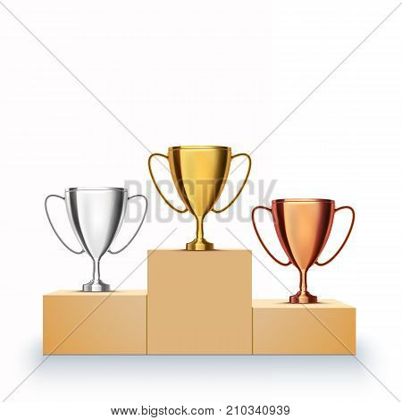 Winner background. Gold, Silver and Bronze Trophy Cup on prize podium. Vector illustration