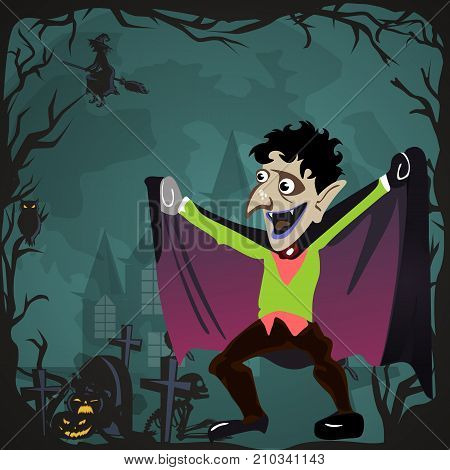 Halloween backgrounds sat with vampire and their castle under the full moon and cemetery, Dracula with fangs teeth, monster in a coffin flat vector illustrations, good for Halloween party invitation or flyer, greeting card, trick or treat decoration