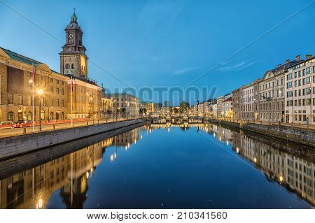 Cityscape with Big Harbor Canal and German Church (Christinae Church) at dusk in Gothenburg Sweden