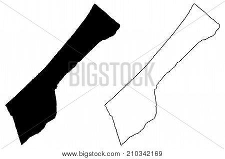 Gaza strip map vector illustration , scribble sketch Gaza strip