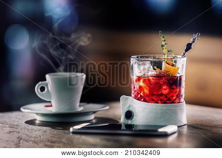 Fresh Cocktail Drink With Cup Of Coffee And Smartphone.  Alcoholic, Non-alcoholic Drink-beverage At