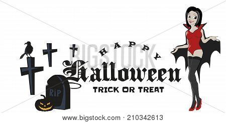 halloween gothic party with vampire girl, fun background for horror invitation on vamp cosplay, sexy dracula woman with fangs on vector flyer, cemetery nightlife poster or banner illustration