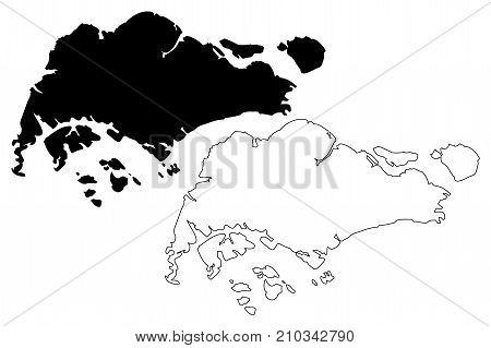 Singapore map vector illustration , scribble sketch Singapore