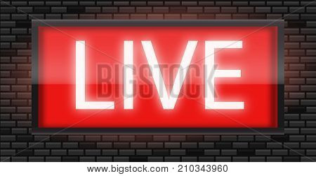 Live broadcast radio sign on black bricks wall background vector illustration. Glowing red neon badge studio warning board. Live radio sign. Red Live radio broadcast background.