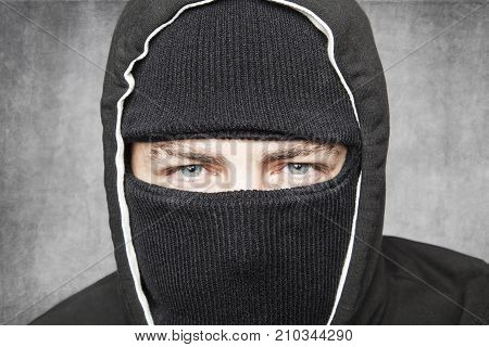 Close-up On Man In Balaclava, Suspicious Type