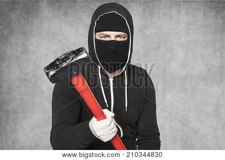 Masked Stranger Ready To Aggression