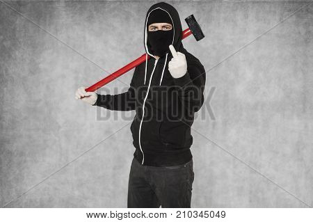 Masked Person Shows Middle Finger, Confident