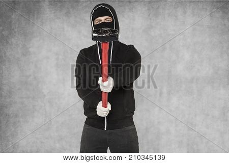 Masked Man With Big Hammer