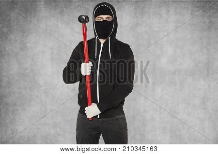 Masked Man With Hammer, Copy Space